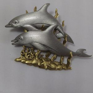 JJ Pewter 2 dolphins brooch two tone colors